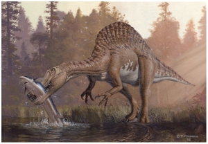 Spinosaurus eating sturgeon